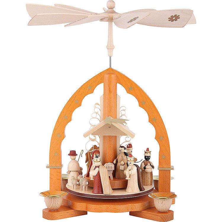 1 - Tier Pyramid  -  Nativity Scene Natural Wood  -  27cm / 11 inch