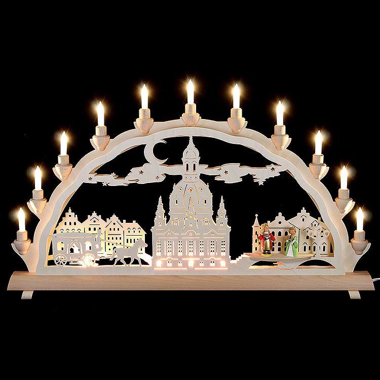 3D - Doppelschwibbogen Dresdner Frauenkirche mit Kutsche und Figuren  -  68x35cm