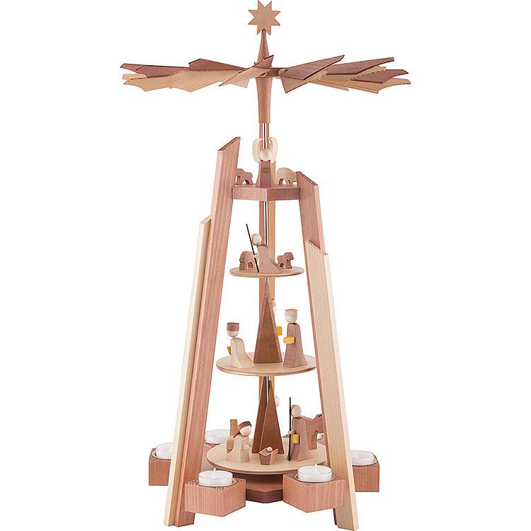 4 - stöckige Teelichtpyramide mit Krippenfiguren, rosenholz  -  60cm