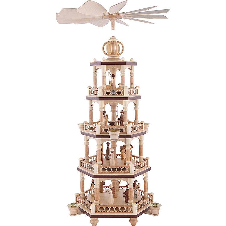 4 - stöckige Weihnachtspyramide  -  Heilige Geschichte  -  64cm