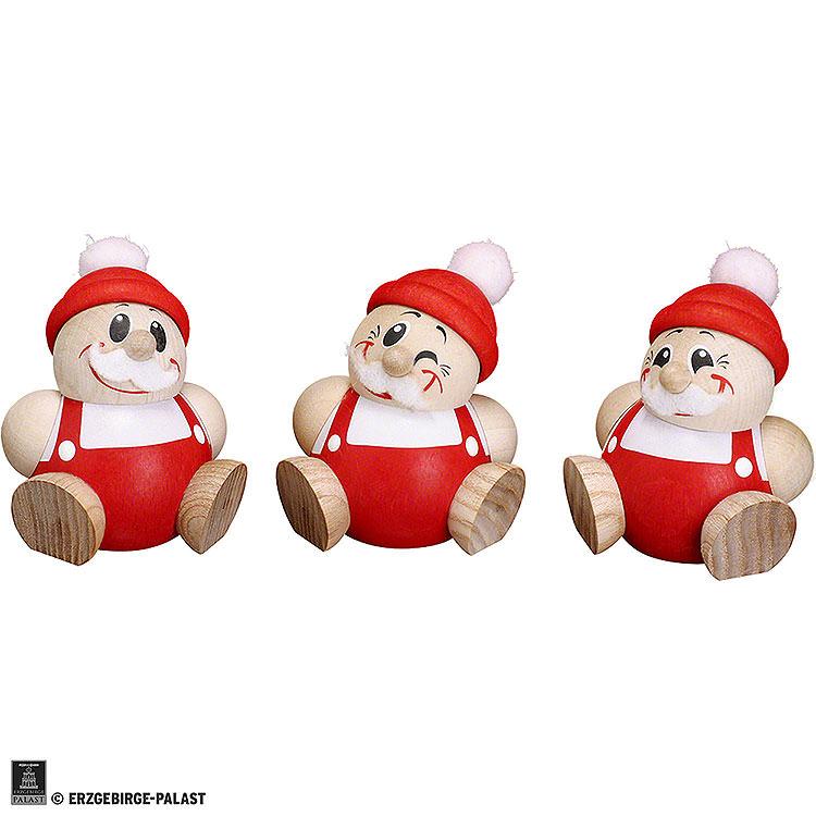 Ball Figures Santa Claus  -  3 pcs.  -  6cm / 2.4 inch