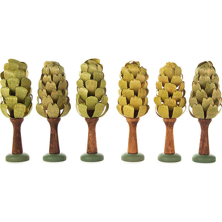 Blattbäume, 6 - teilig  -  9cm