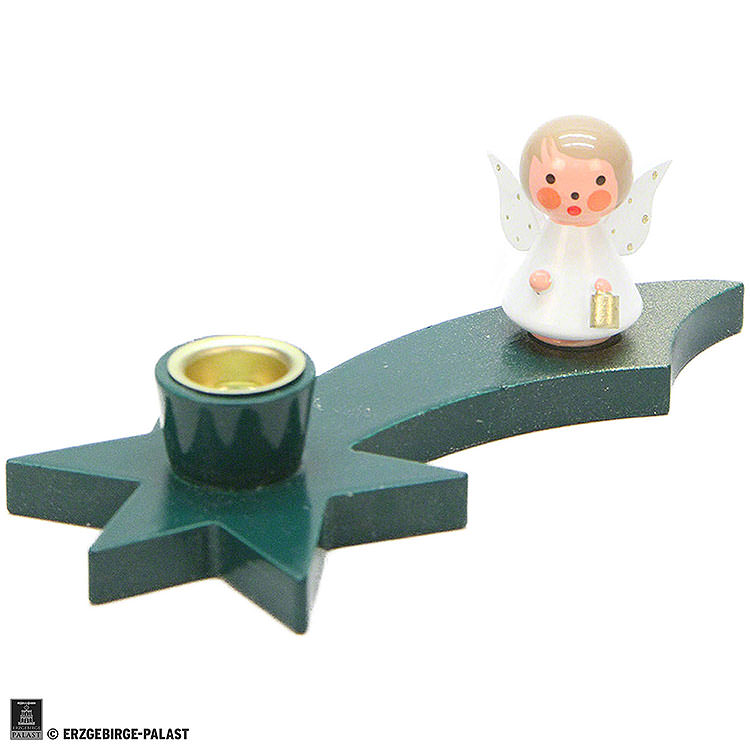 Candle Holder  -  Angel on Comet  -  Green  -  3cm / 1.2 inch