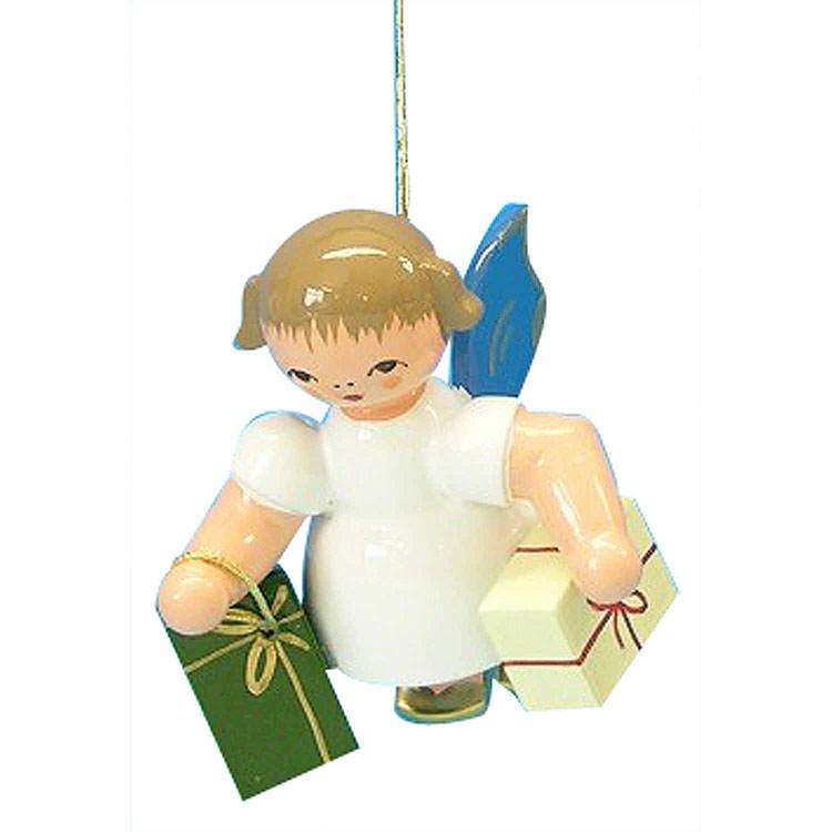 Christbaumschmuck Engel mit 2 Geschenken  -  Blaue Flügel  -  schwebend  -  6cm