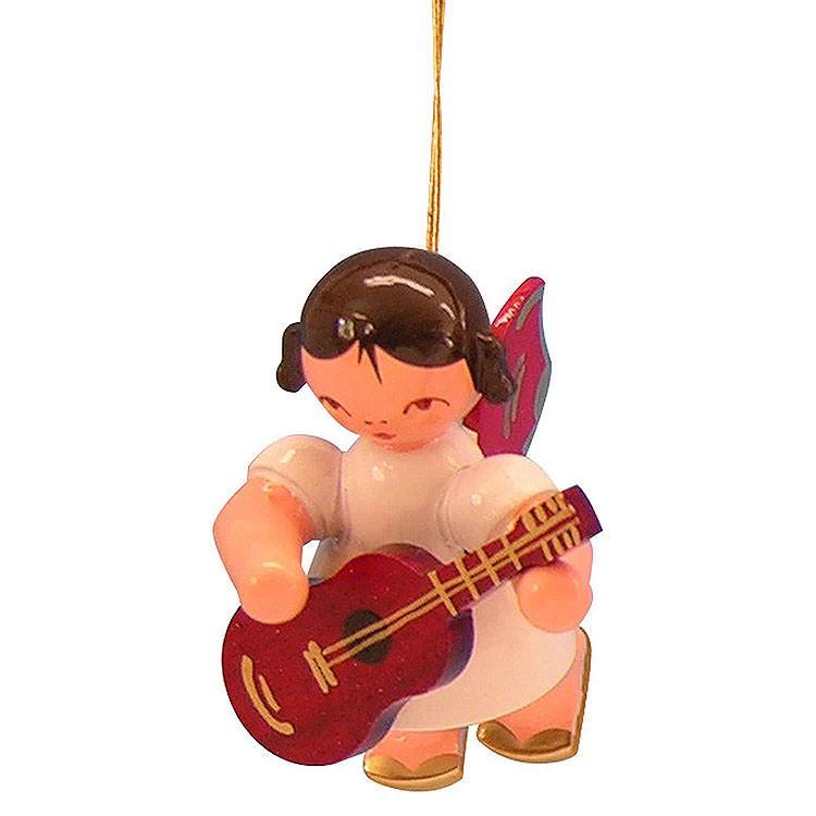 Christbaumschmuck Engel mit Gitarre  -  Rote Flügel  -  schwebend  -  5,5cm