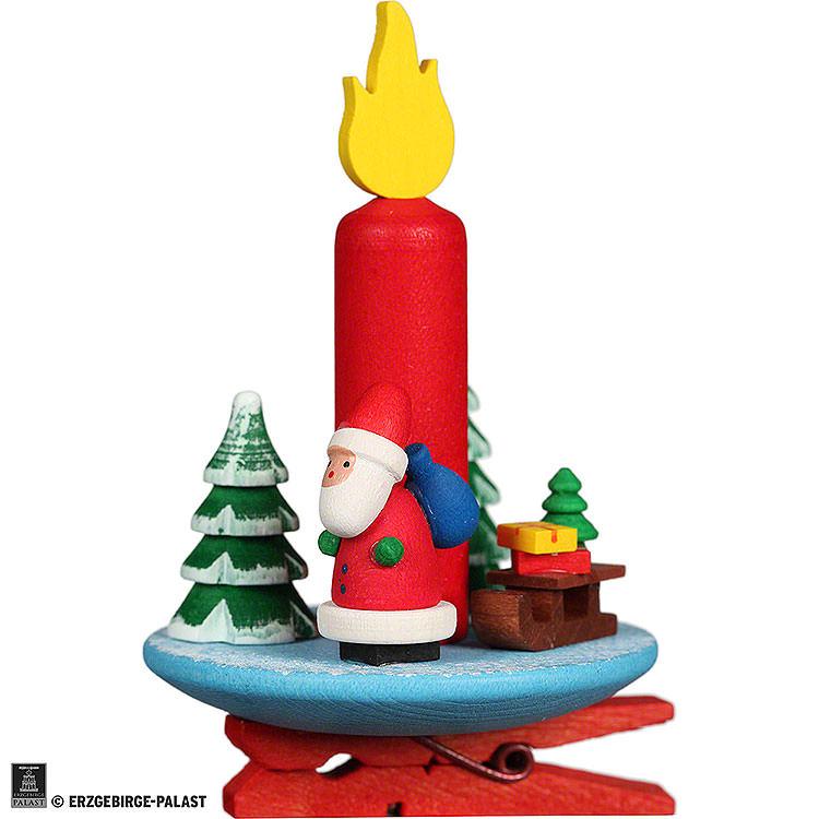 Christbaumschmuck Kerze mit Weihnachsmann auf Klammer  -  6x8,5cm