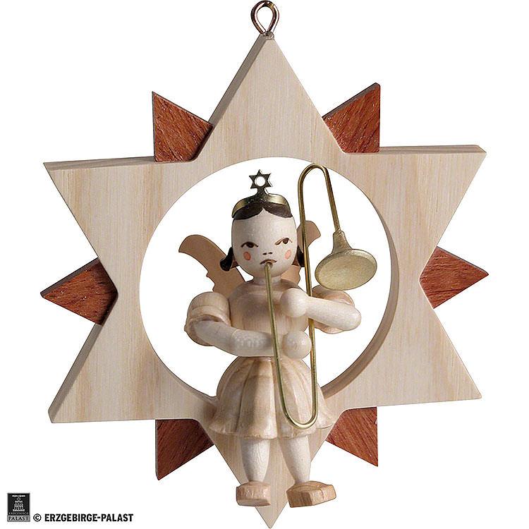 Engel im Stern mit Zugposaune, natur  -  9cm