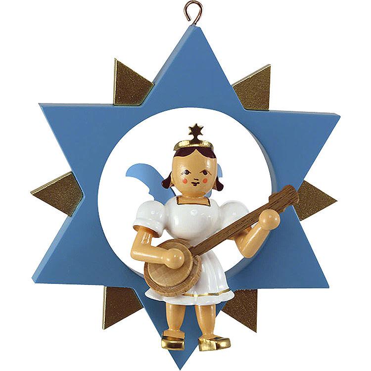 Engel mit Banjo im Stern, farbig  -  9cm