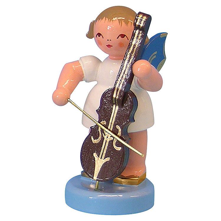 Engel mit Cello  -  Blaue Flügel  -  stehend  -  6cm