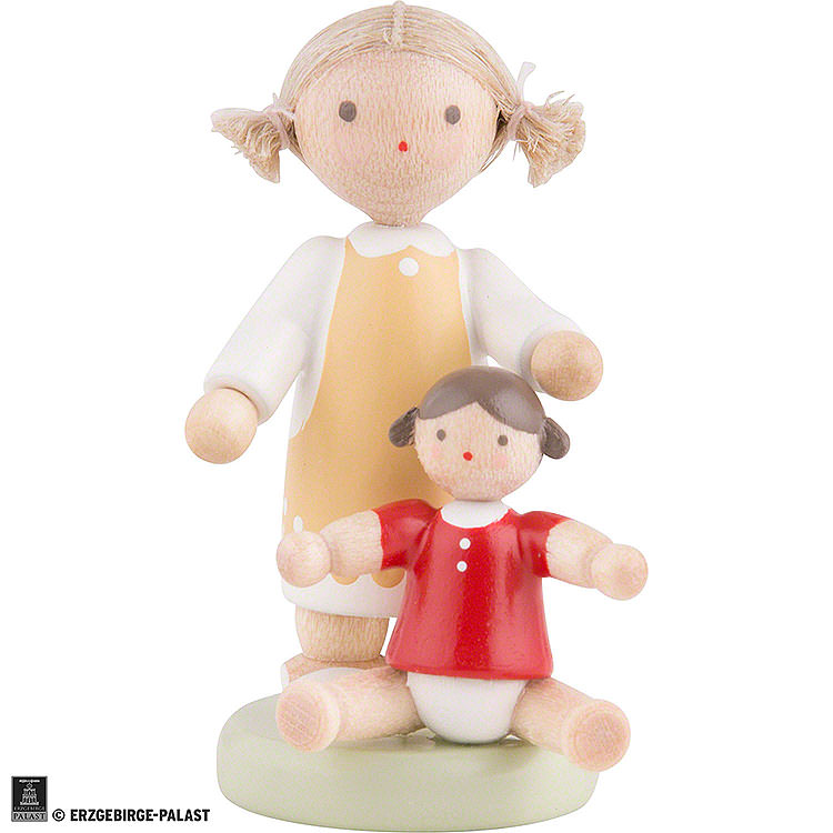 dbbec71e3d Flachshaarkinder Mädchen mit Puppe - ca. 5cm