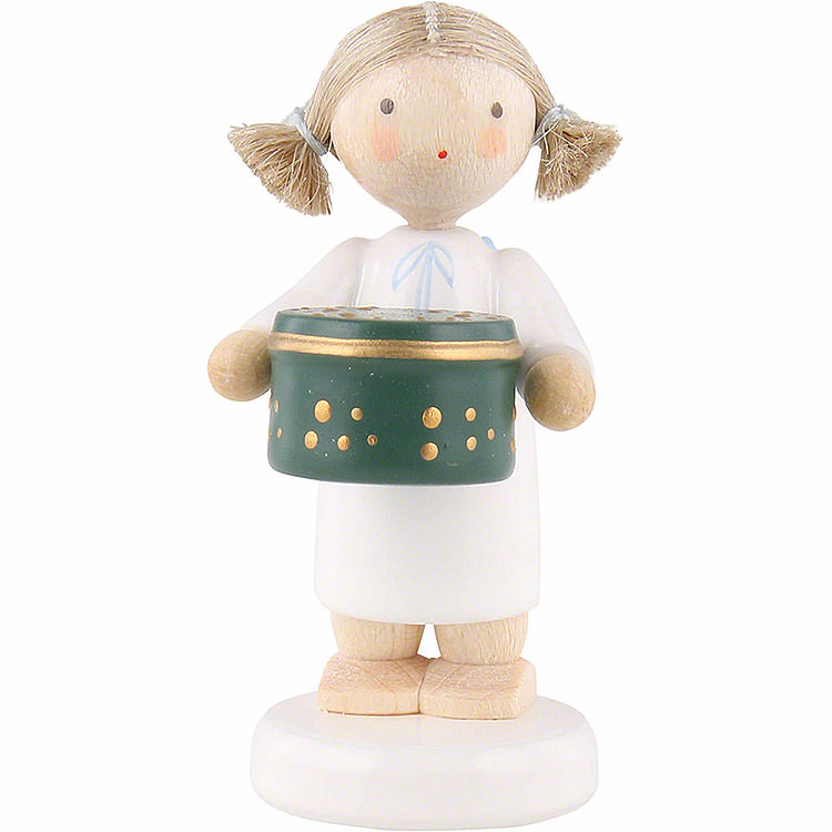 Flax Haired Angel with Can with Sweets, Green  -  5cm / 2 inch