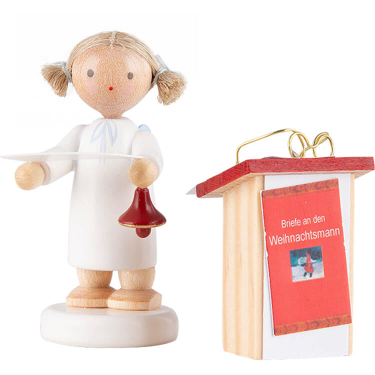 Flax Haired Angel with Desk  -  5cm / 2 inch