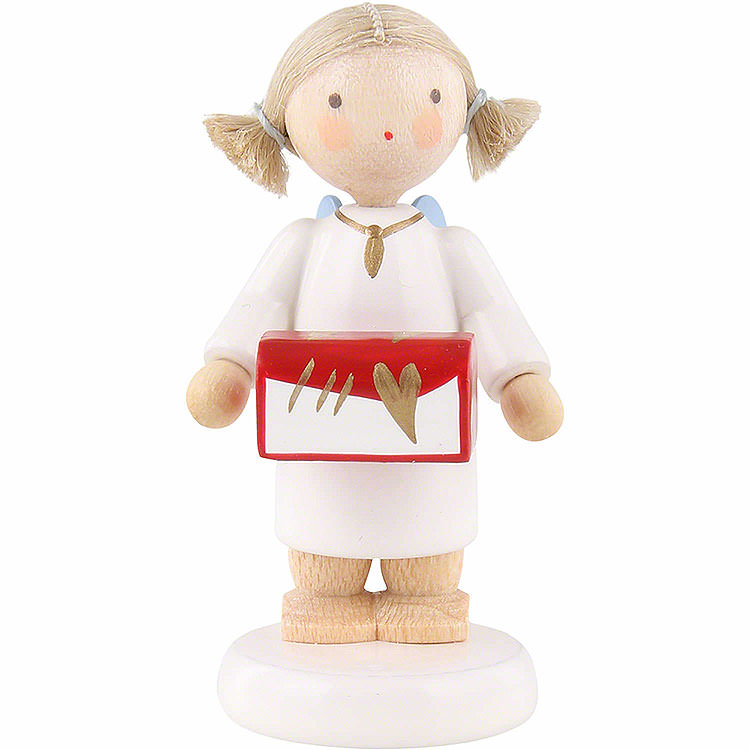 Flax Haired Angel with Jewel Case  -  5cm / 2 inch