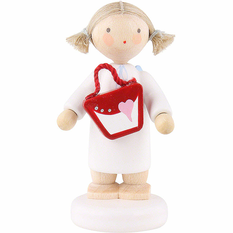 Flax Haired Angel with Purse  -  5cm / 2 inch