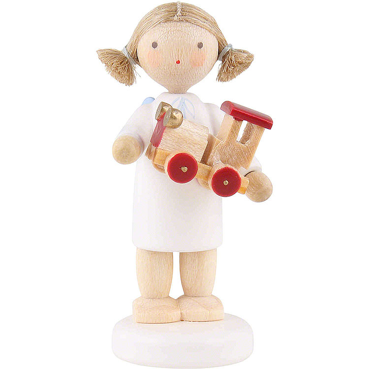 Flax Haired Angel with Toy Car  -  5cm / 2 inch