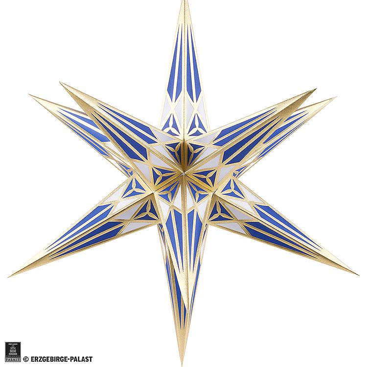 Hartensteiner Weihnachtsstern für Innen  -  weiß - blau mit gold  -  68cm