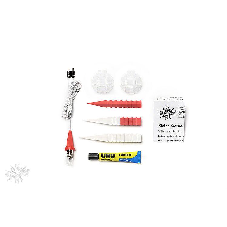 Herrnhuter Bastelstern A1b weiß/rot Kunststoff  -  13cm