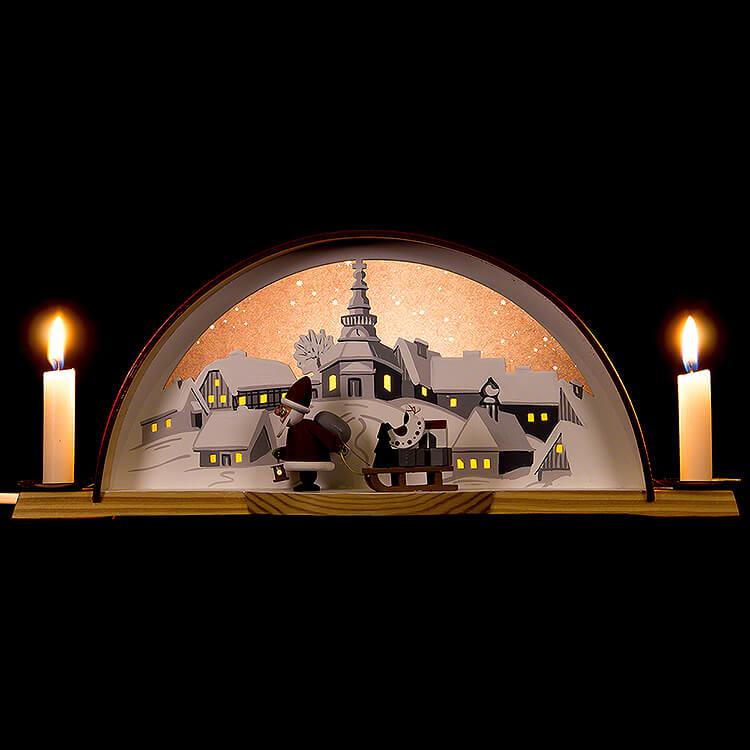 Lichterbogen mit Weihnachtsmann  -  33x14cm