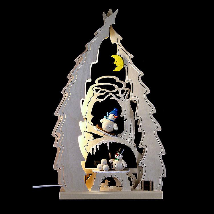 Lichterspitze Baum mit Schneemännern  -  43x25x4,5cm