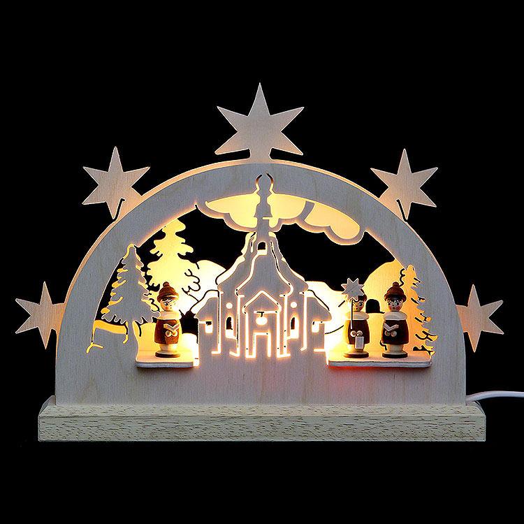 Mini - LED - Schwibbogen Seiffener Kirche  -  23x15x4,5cm