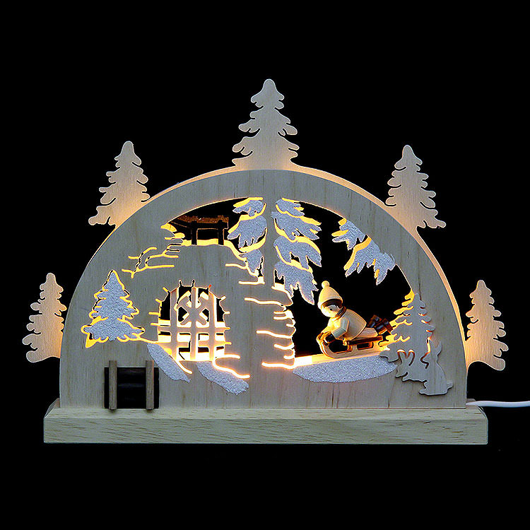 Mini - LED - Schwibbogen Winterlandschaft  -  23x15x4,5cm