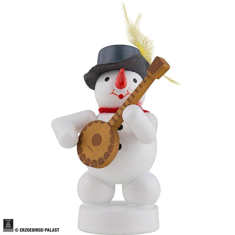 Schneemann Musikant mit Banjo  -  8cm