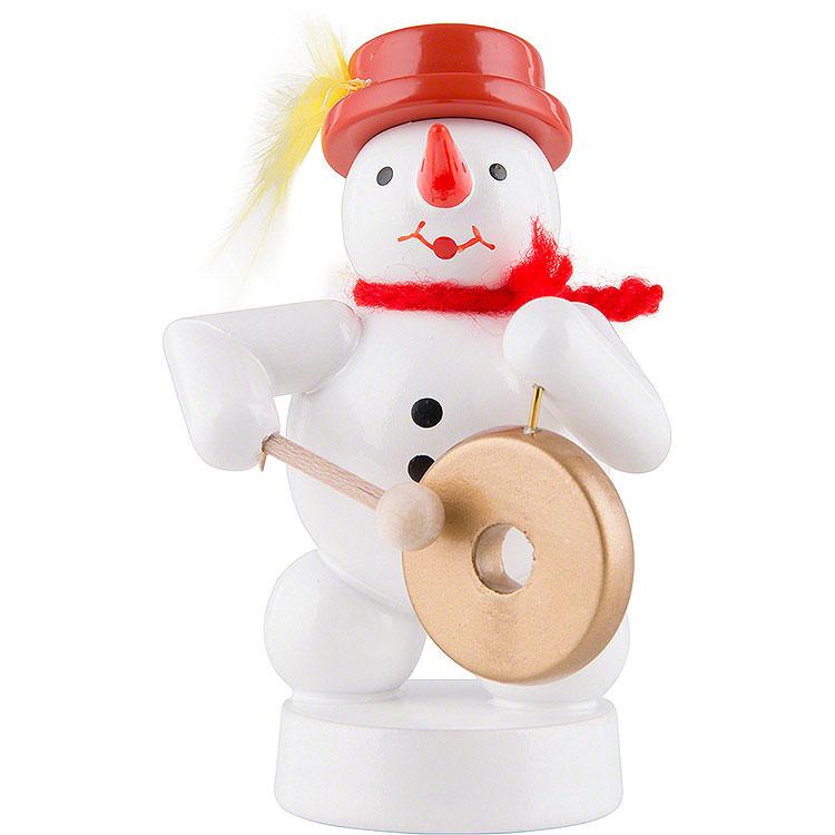 Schneemann Musikant mit Gong  -  8cm