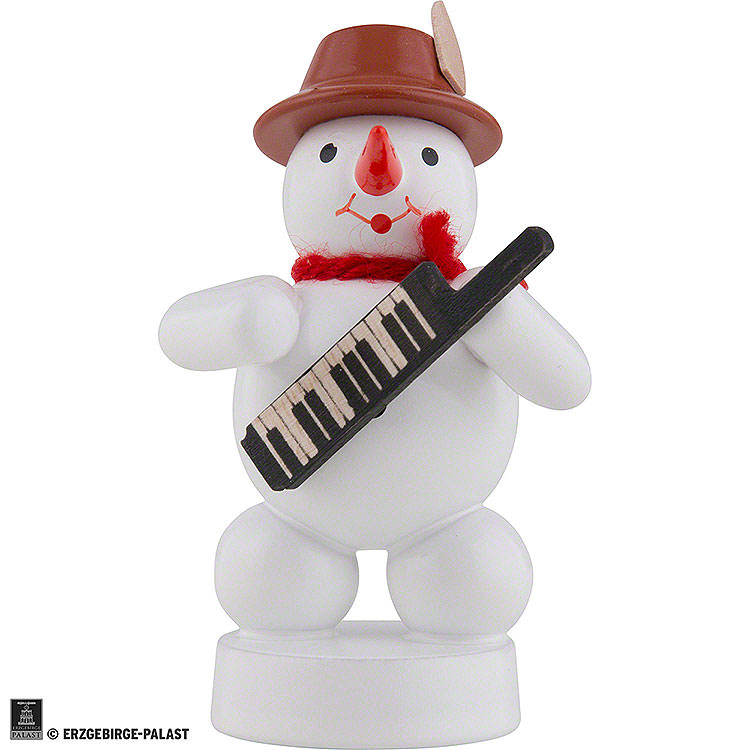 Schneemann Musikant mit Keyboard  -  8cm