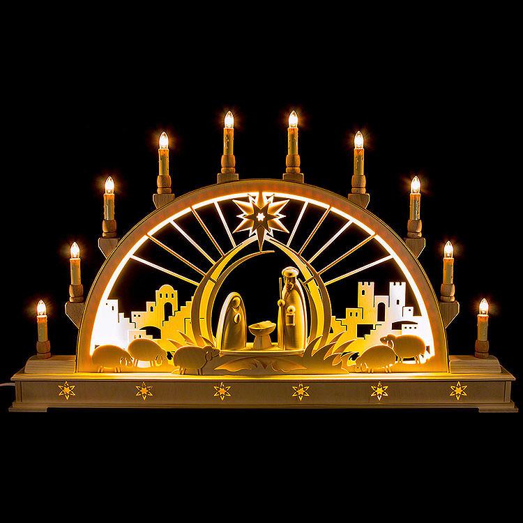 Schwibbogen Christi Geburt mit LED - Innenbeleuchtung  -  78x45cm