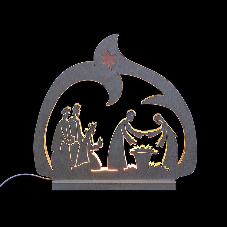 Schwibbogen LED - Leuchter Krippe  -  30x28,5x4,5cm