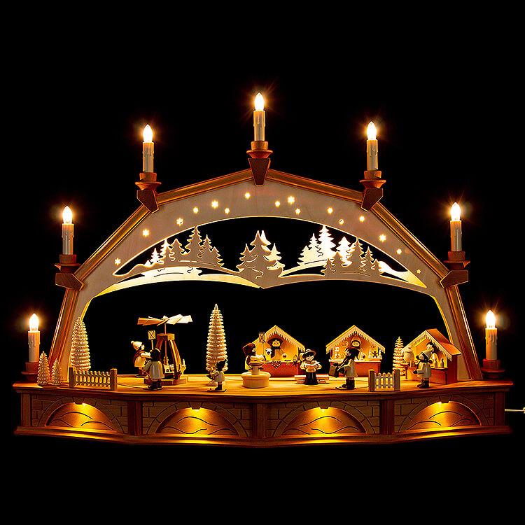 Schwibbogen Weihnachtsmarkt mit drehender Pyramide  -  75x50cm