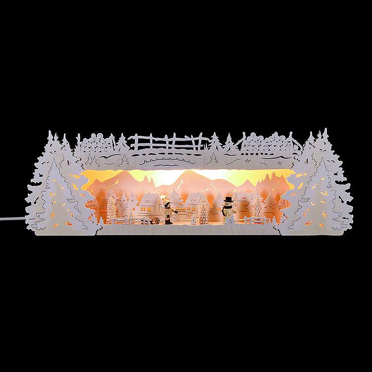 Schwibbogenerhöhung für Lichterspitze Winterspitze verschneit  -  54x17x15cm