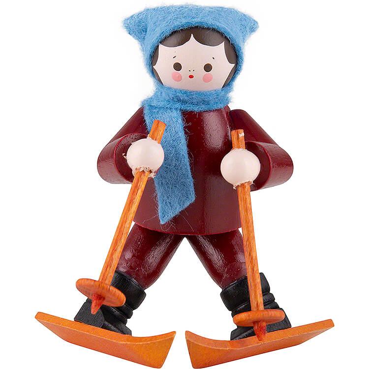 Thiel - Figur Anfängerin Mädchen mit Ski  -  bunt  -  5,5cm