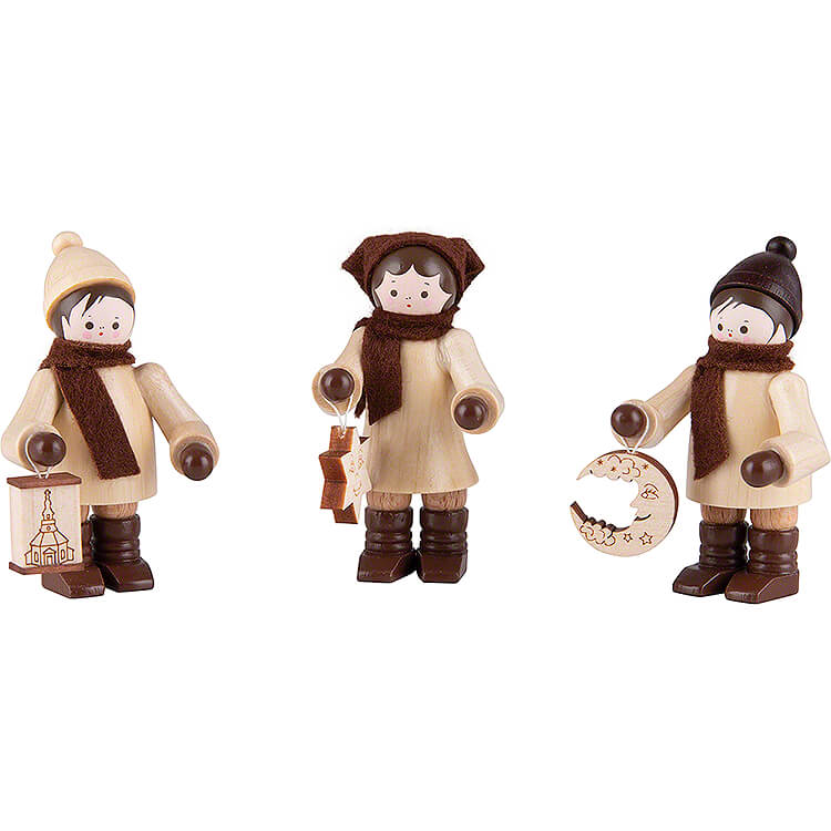 Thiel Figurine  -  Lampion Children  -  natural  -  Set of Three  -  7,5cm / 3 inch