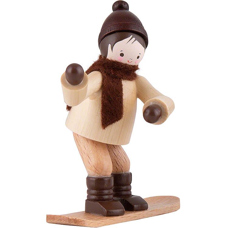Thiel Figurine  -  Winter Child with Snowboard  -  natural  -  6,5cm / 2.6 inch