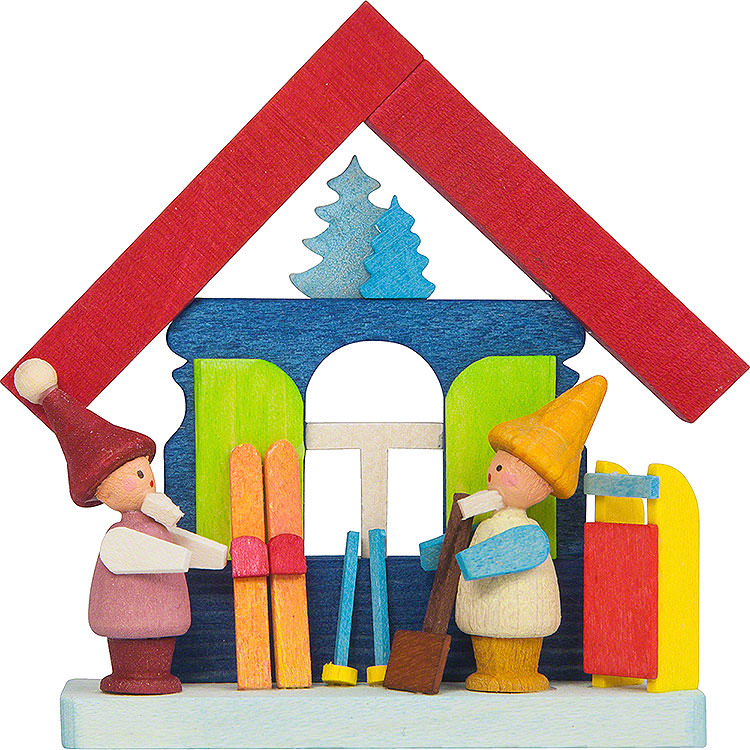 Tree Ornament  -  Colorful House with Dwarves and Ski  -  7,5cm / 3 inch