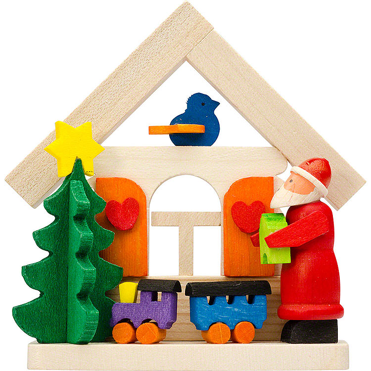 Tree Ornament  -  House Santa Claus with Rail Road  -  7,5cm / 3 inch