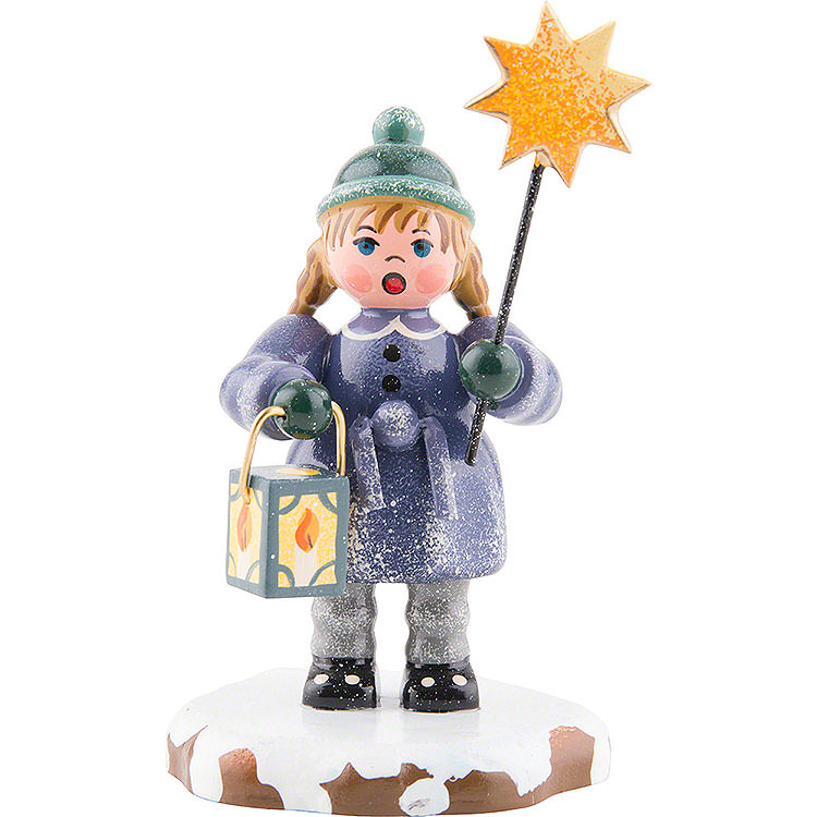 Winter Children Girl with a Star and Lantern  -  8cm / 3 inch