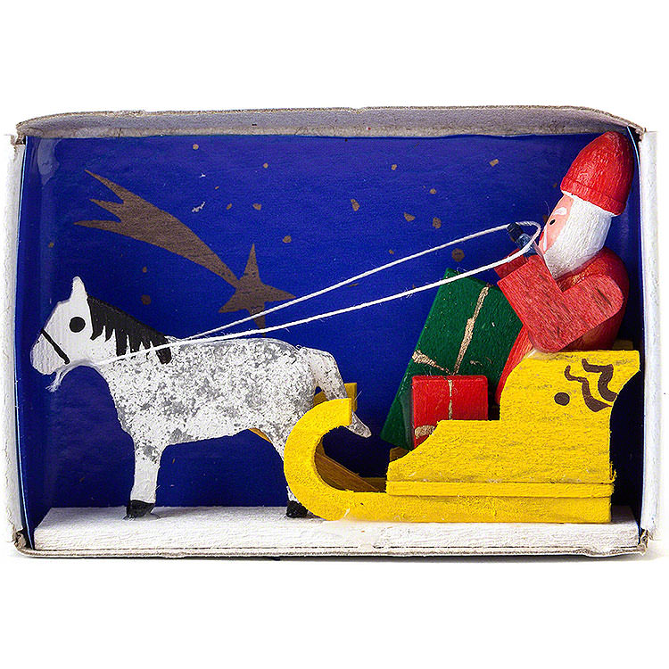 Zündholzschachtel Weihnachtsmann mit Schlitten  -  4cm