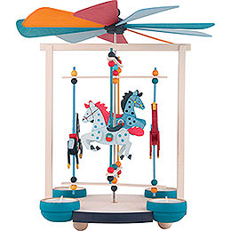 1 - Tier Carousel Pyramid with Four Horses  -  30cm / 11.8 inch