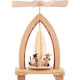 1 - Tier Pyramid  -  Christmas Motive  -  Natural  -  26cm / 10.2 inch