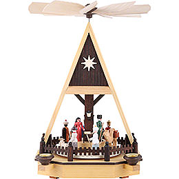 1 - Tier Pyramid  -  Nativity Scene  -  34cm / 13 inch