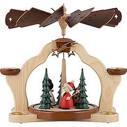 1 - Tier Pyramid  -  Santa with Moose  -  31cm / 12 inch