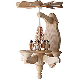 1 - Tier Wall Pyramid Angel and Wood Chip Tree  -  40x22cm / 15.7x8.7 inch