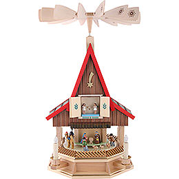 2 - Tier Adventhouse Electrically Driven Nativity Scene by Richard Glässer -  53cm / 21 inch