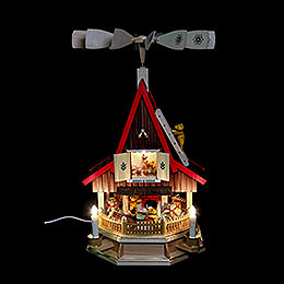 2 - Tier Adventhouse Teddybears Electrically Driven by Richard Glässer -  53cm / 21 inch