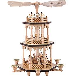 3 - Tier Pyramid  -  Nativity Scene  -  Natural Wood  -  38cm / 15 inch