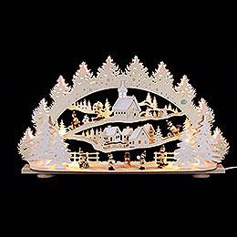 3D Candle Arch  -  'Children in the Winter Village'  -  66x40x11,5cm / 26x16x5 inch