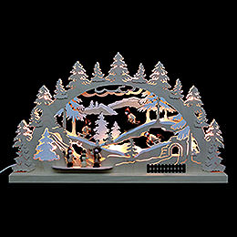 3D - Doppelschwibbogen Winterlandschaft  -  62x37x5,5cm