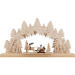 3D Double Arch  -  Santa Claus with Reindeer Sleigh  -  61x34x6cm / 24x13x2.5 inch